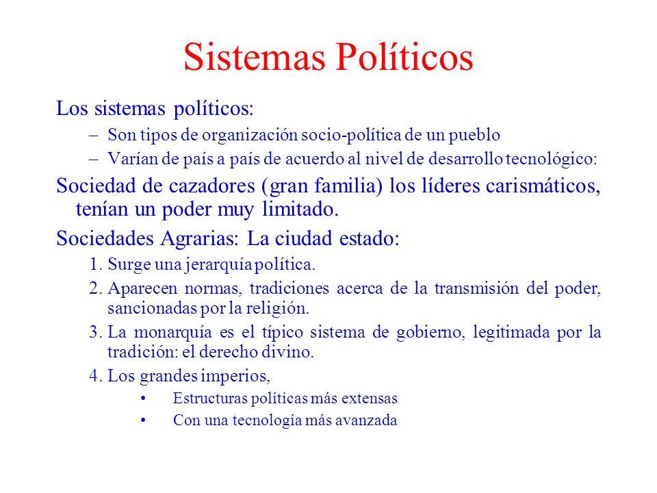 Sistemas Políticos Los sistemas políticos: