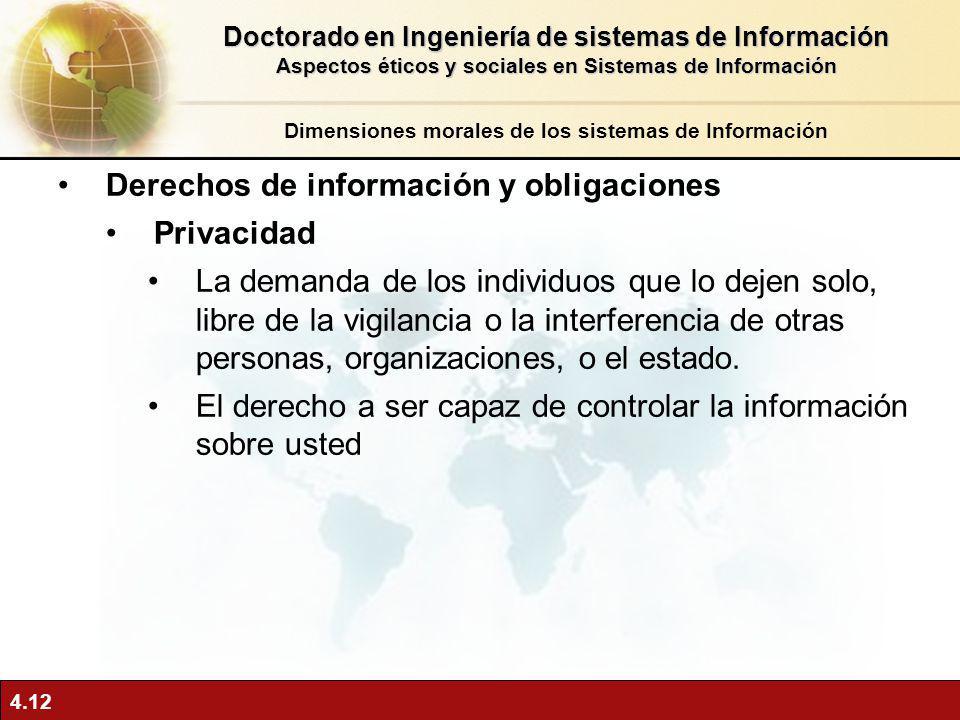 Derechos de información y obligaciones Privacidad