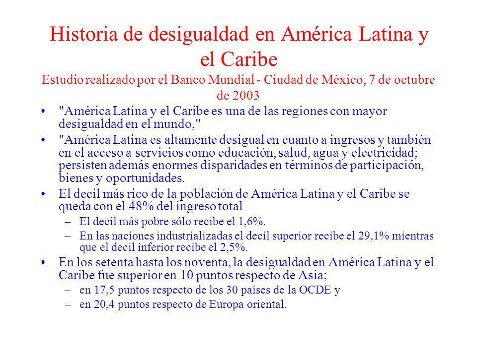 Historia de desigualdad en América Latina y el Caribe Estudio realizado por el Banco Mundial - Ciudad de México, 7 de octubre de 2003
