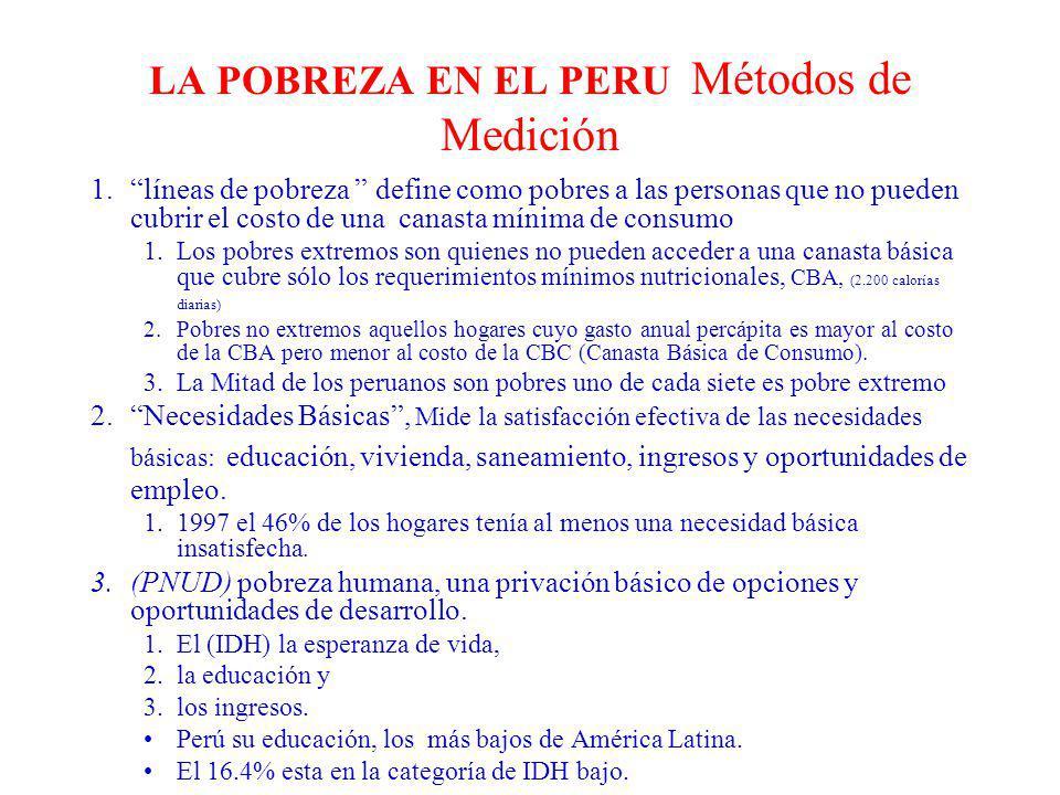 LA POBREZA EN EL PERU Métodos de Medición