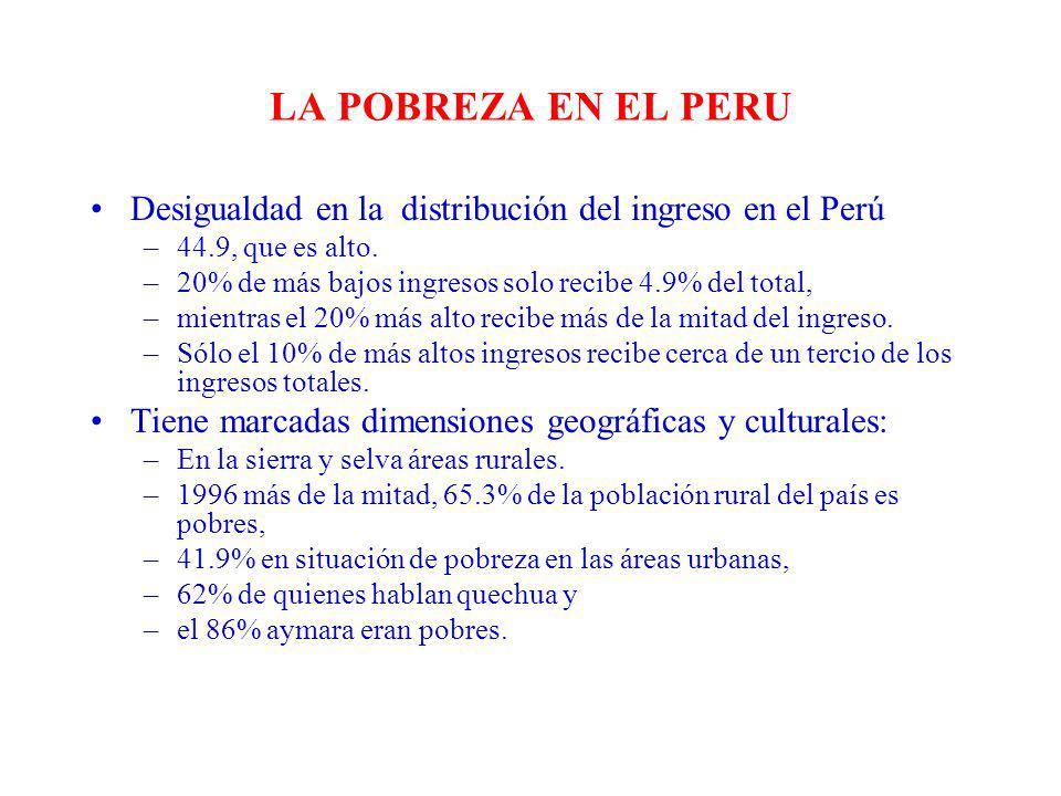 LA POBREZA EN EL PERU Desigualdad en la distribución del ingreso en el Perú. 44.9, que es alto.