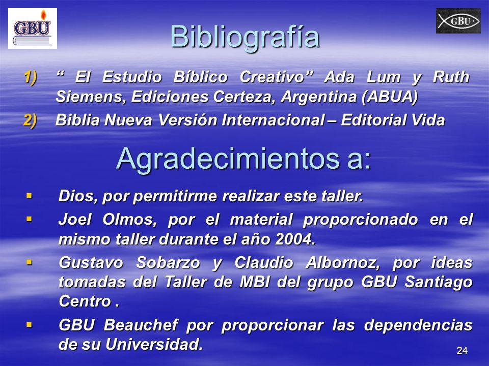 Bibliografía Agradecimientos a: