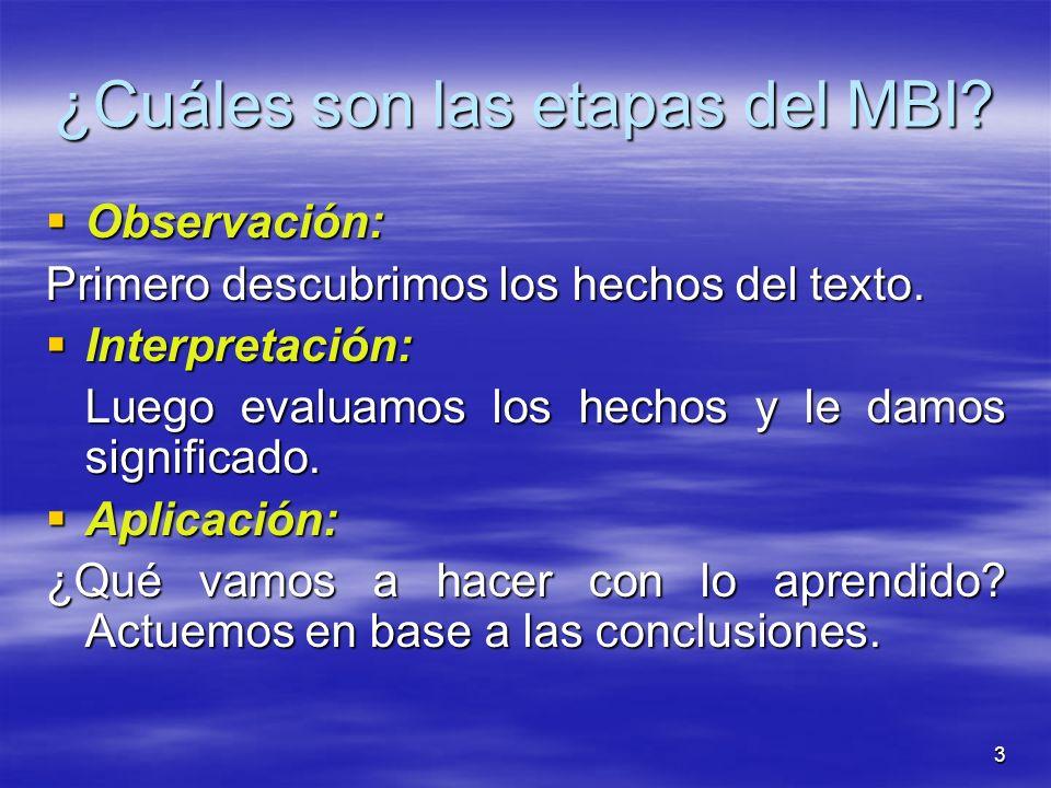 ¿Cuáles son las etapas del MBI