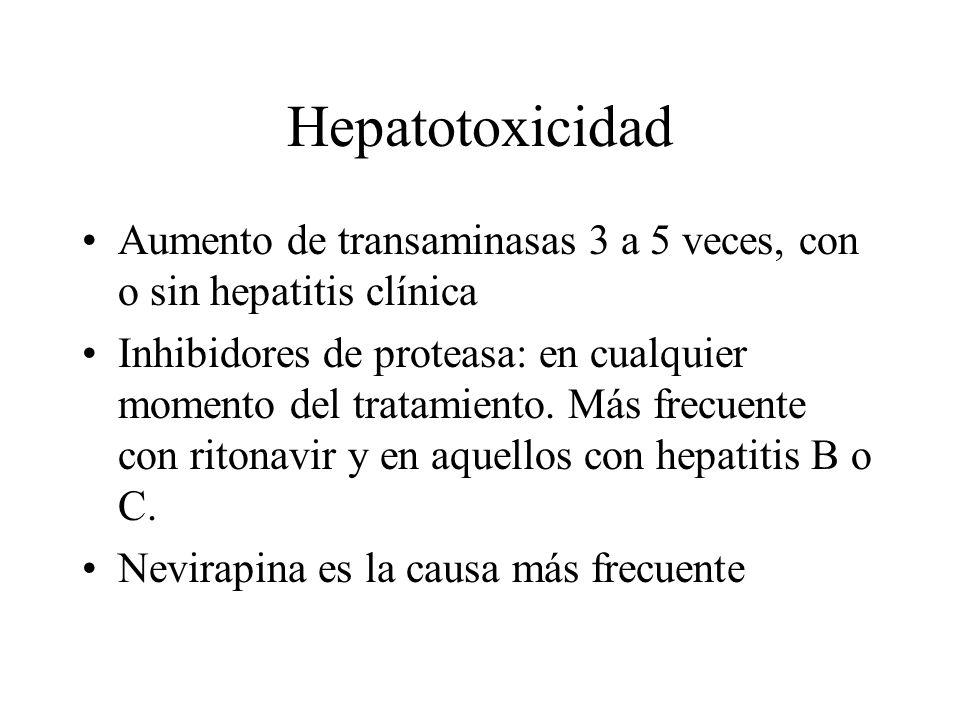 Hepatotoxicidad Aumento de transaminasas 3 a 5 veces, con o sin hepatitis clínica.