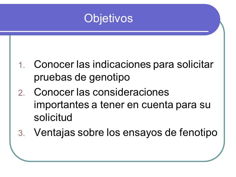 Objetivos Conocer las indicaciones para solicitar pruebas de genotipo