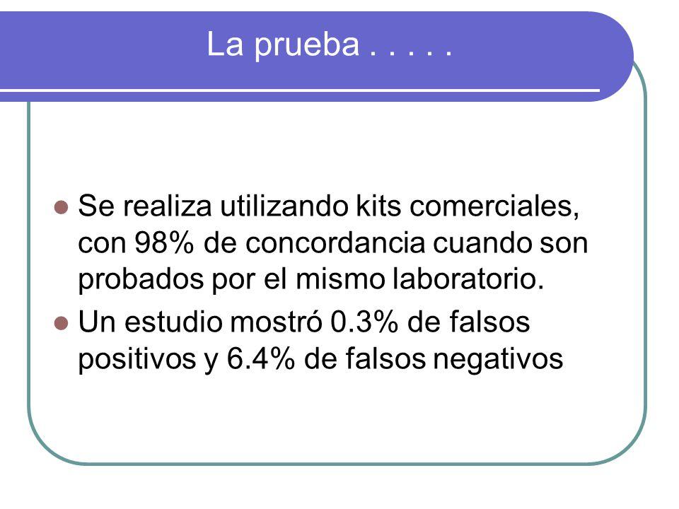 La prueba . . . . . Se realiza utilizando kits comerciales, con 98% de concordancia cuando son probados por el mismo laboratorio.