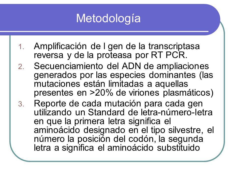 Metodología Amplificación de l gen de la transcriptasa reversa y de la proteasa por RT PCR.