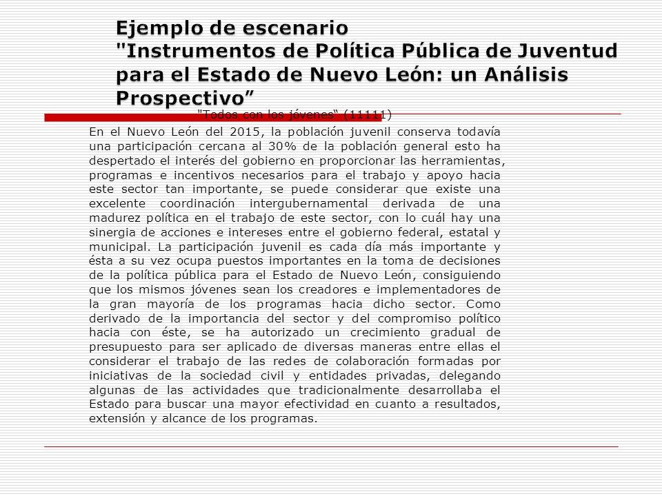 Ejemplo de escenario Instrumentos de Política Pública de Juventud para el Estado de Nuevo León: un Análisis Prospectivo