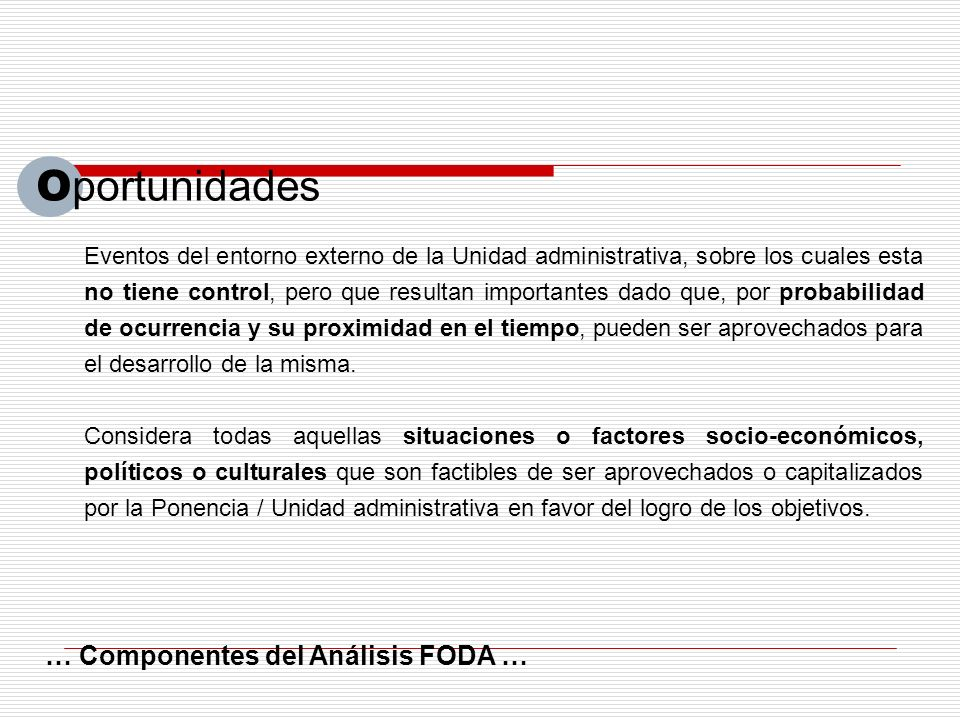 Oportunidades … Componentes del Análisis FODA …