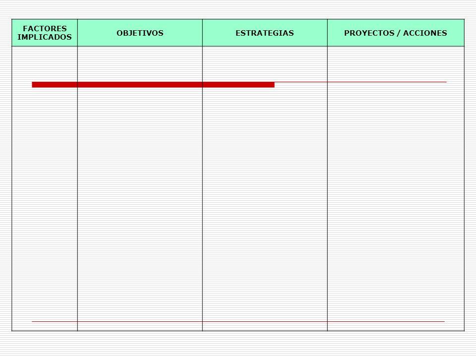 FACTORES IMPLICADOS OBJETIVOS ESTRATEGIAS PROYECTOS / ACCIONES