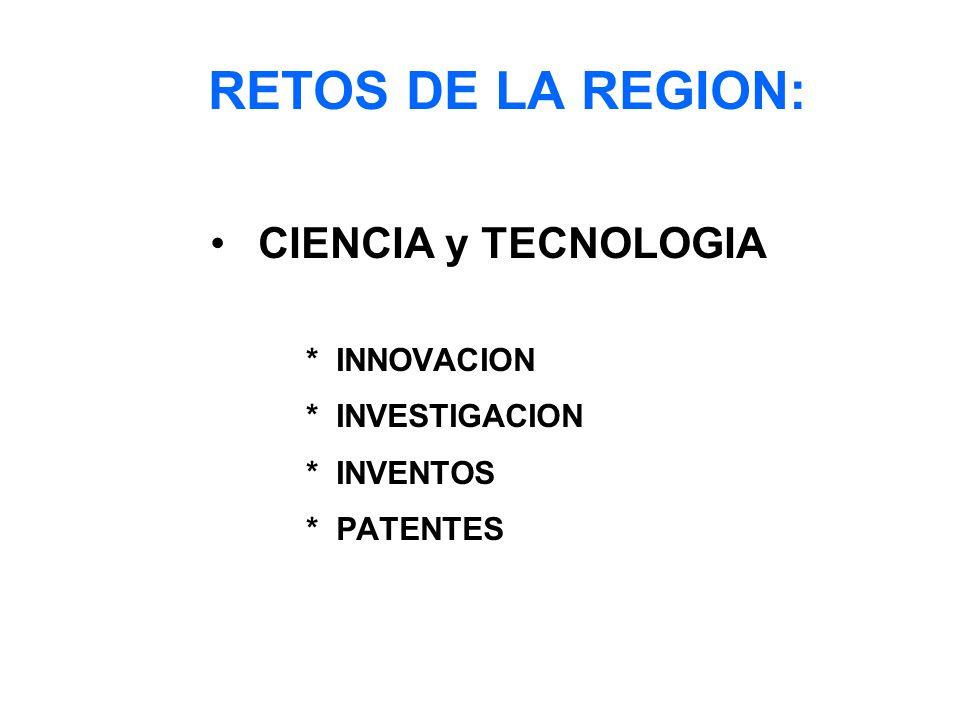 RETOS DE LA REGION: CIENCIA y TECNOLOGIA * INNOVACION * INVESTIGACION