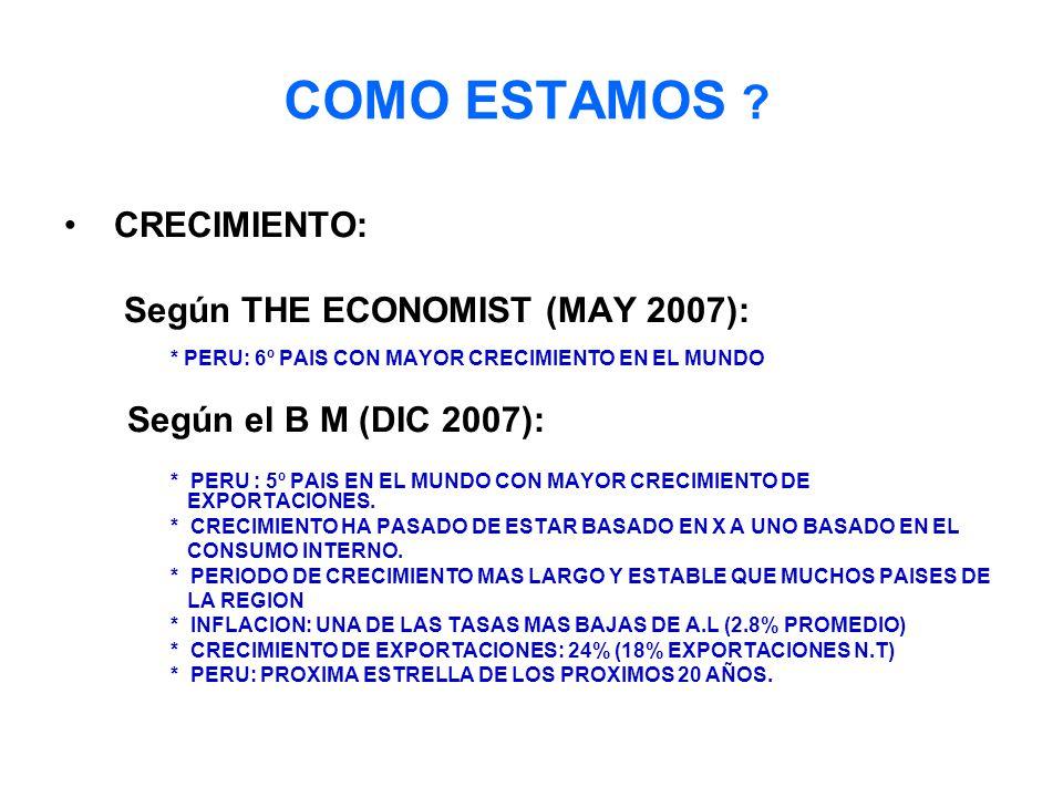 COMO ESTAMOS CRECIMIENTO: Según THE ECONOMIST (MAY 2007):