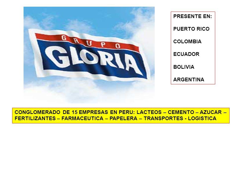 PRESENTE EN: PUERTO RICO. COLOMBIA. ECUADOR. BOLIVIA. ARGENTINA. CONGLOMERADO DE 15 EMPRESAS EN PERU: LACTEOS – CEMENTO – AZUCAR –
