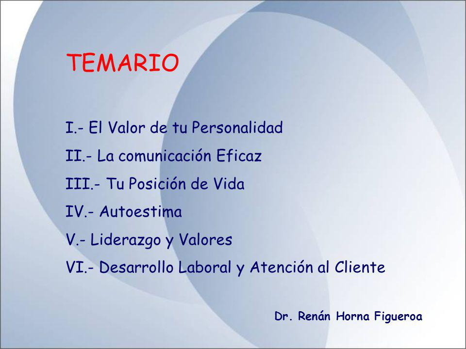 TEMARIO I.- El Valor de tu Personalidad II.- La comunicación Eficaz