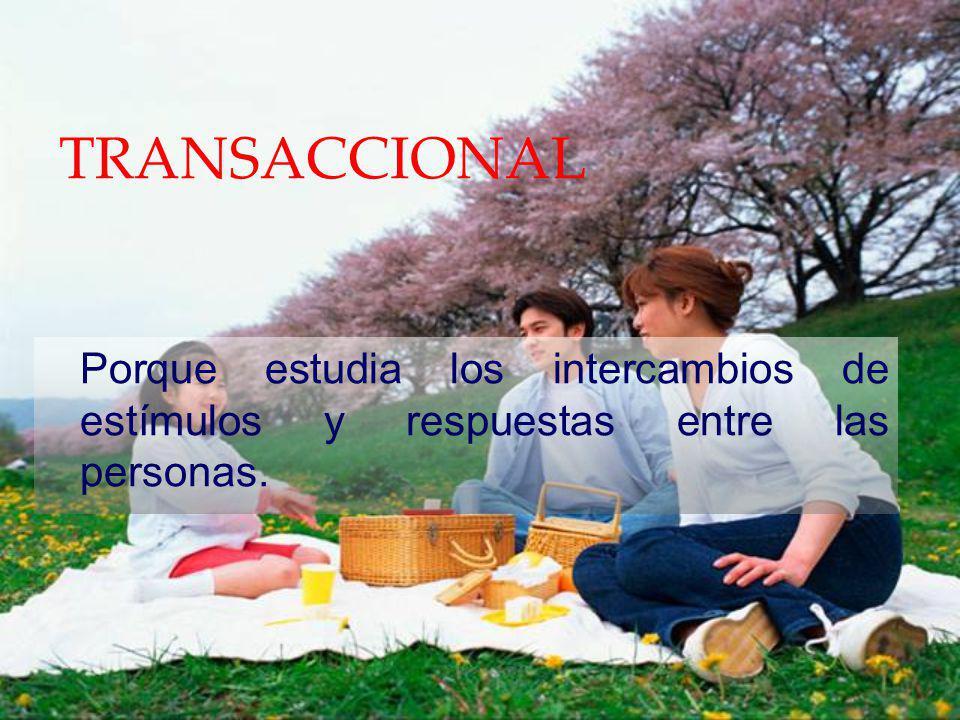 TRANSACCIONAL Porque estudia los intercambios de estímulos y respuestas entre las personas.