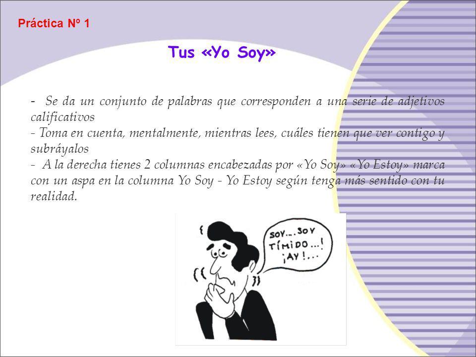Práctica Nº 1 Tus «Yo Soy» - Se da un conjunto de palabras que corresponden a una serie de adjetivos calificativos.