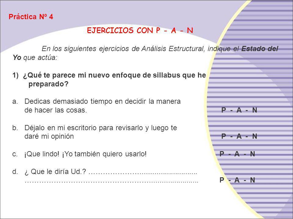 Práctica Nº 4 EJERCICIOS CON P - A - N. En los siguientes ejercicios de Análisis Estructural, indique el Estado del Yo que actúa: