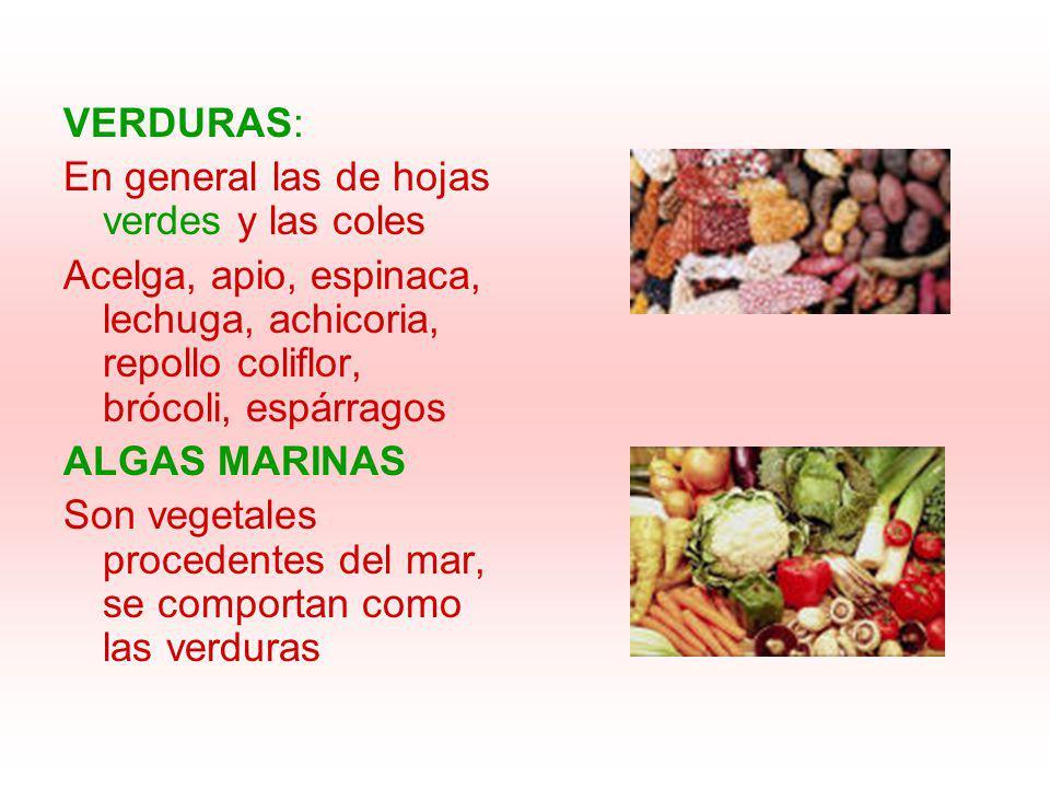 VERDURAS: En general las de hojas verdes y las coles. Acelga, apio, espinaca, lechuga, achicoria, repollo coliflor, brócoli, espárragos.