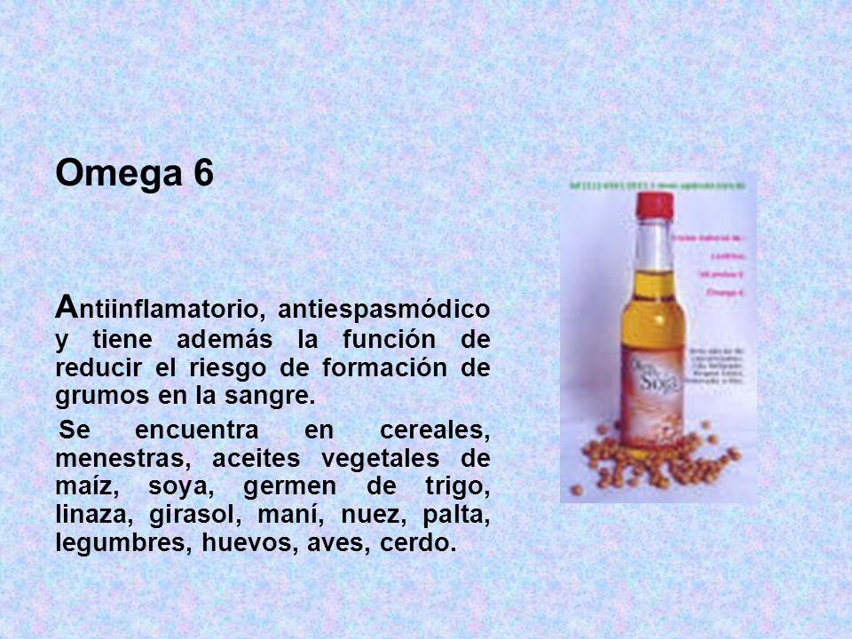 Omega 6 Antiinflamatorio, antiespasmódico y tiene además la función de reducir el riesgo de formación de grumos en la sangre.