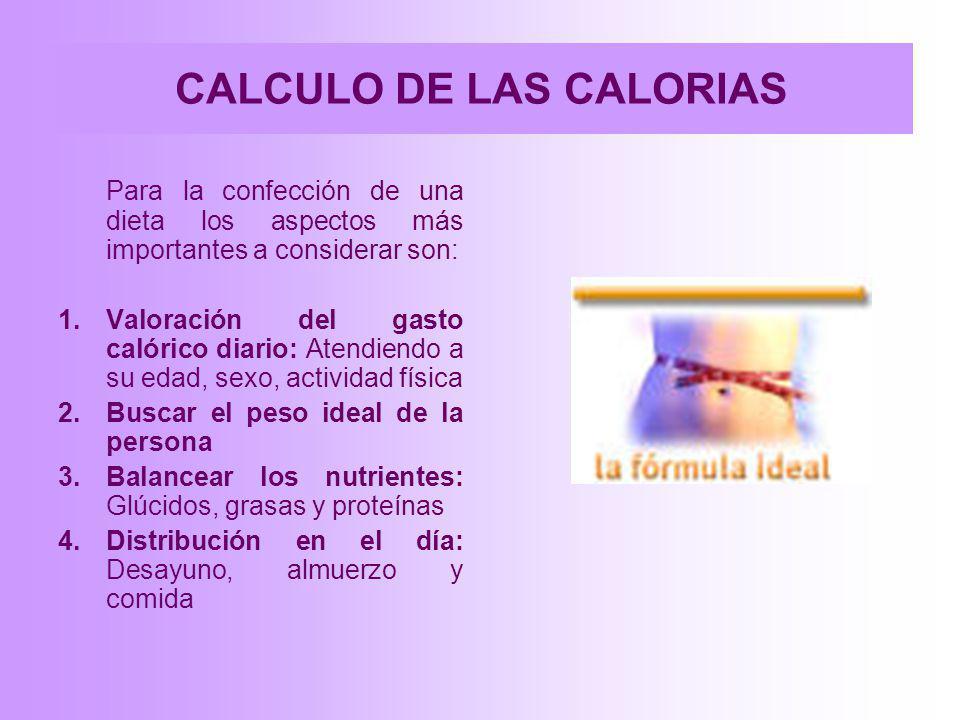 CALCULO DE LAS CALORIAS