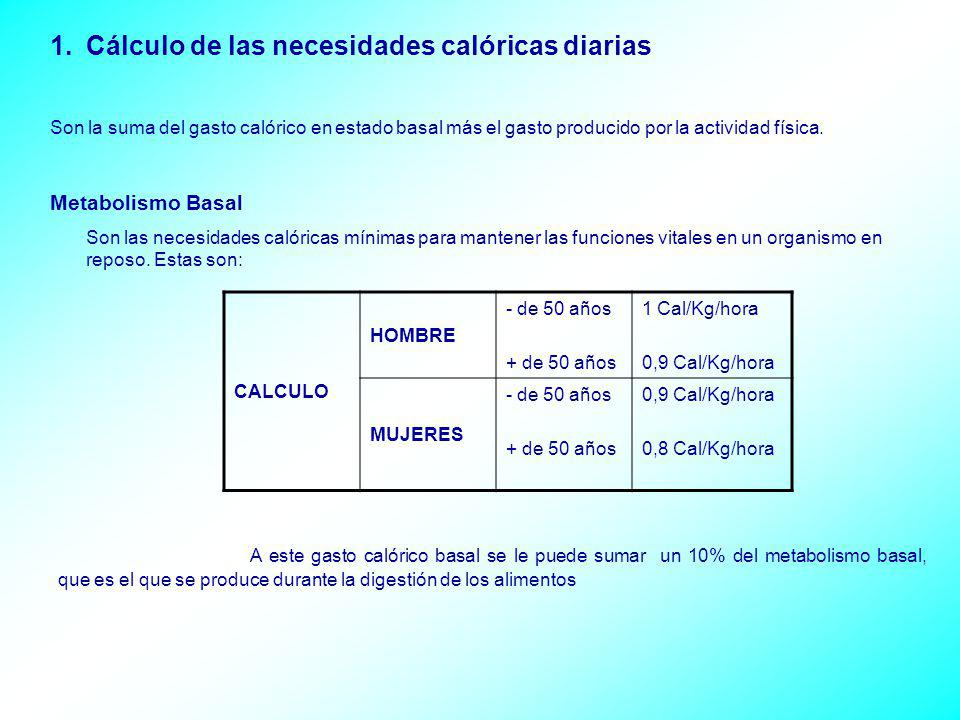 Cálculo de las necesidades calóricas diarias