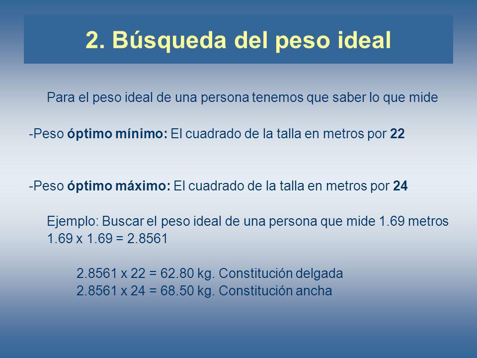 2. Búsqueda del peso ideal