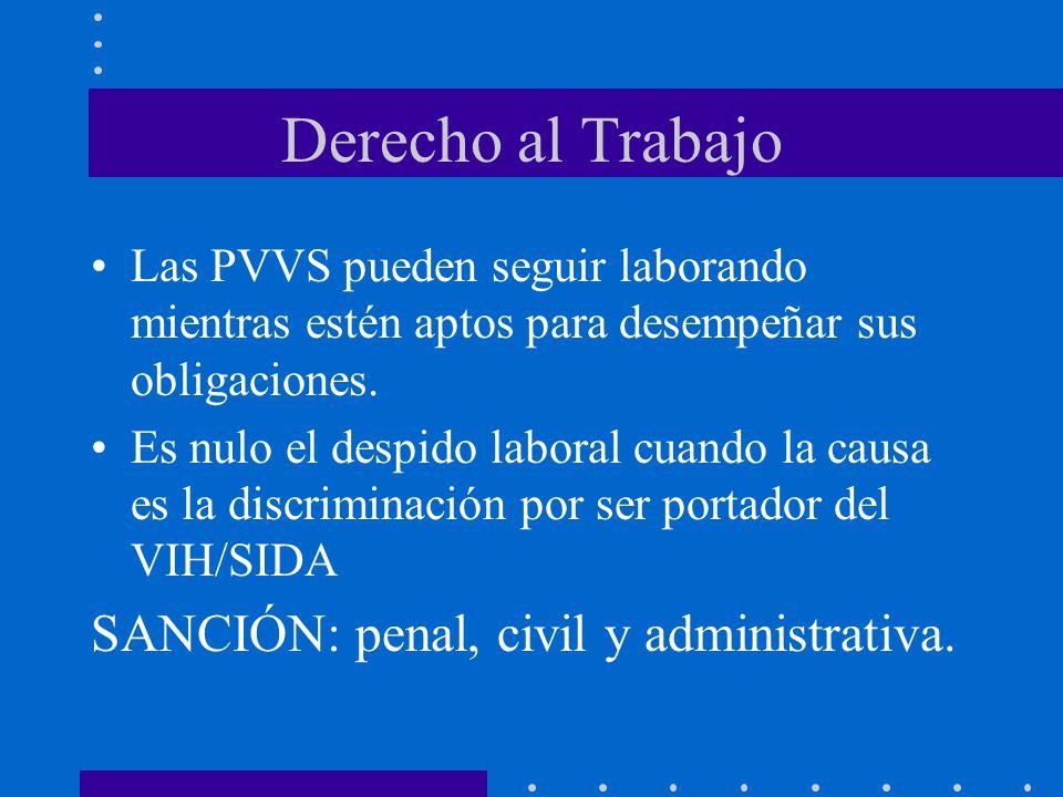 Derecho al Trabajo SANCIÓN: penal, civil y administrativa.