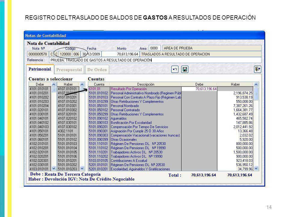 REGISTRO DEL TRASLADO DE SALDOS DE GASTOS A RESULTADOS DE OPERACIÓN