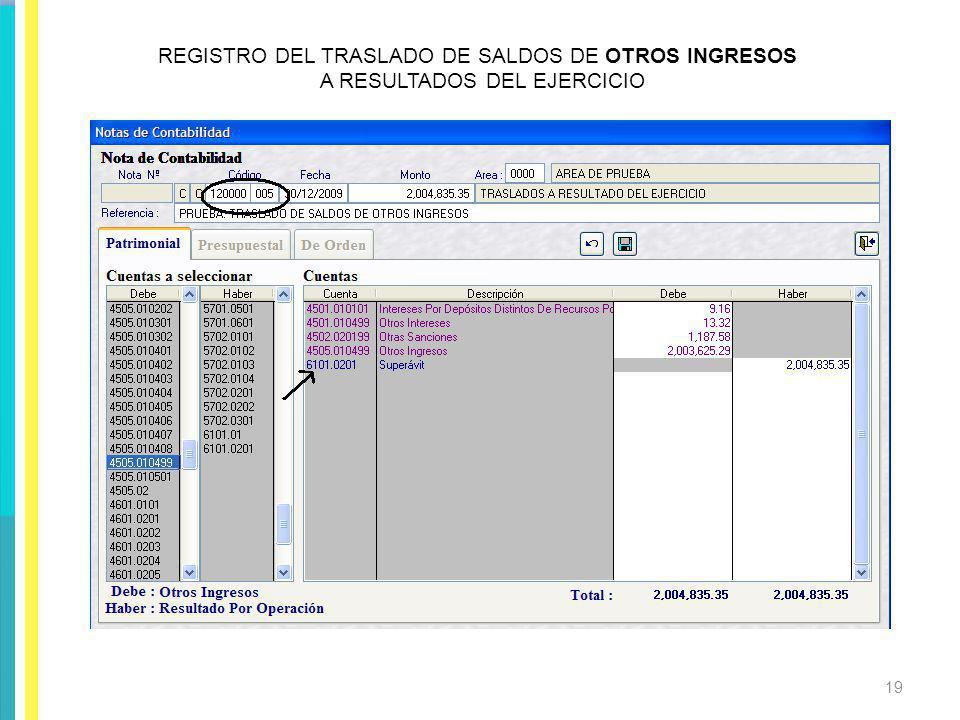 REGISTRO DEL TRASLADO DE SALDOS DE OTROS INGRESOS