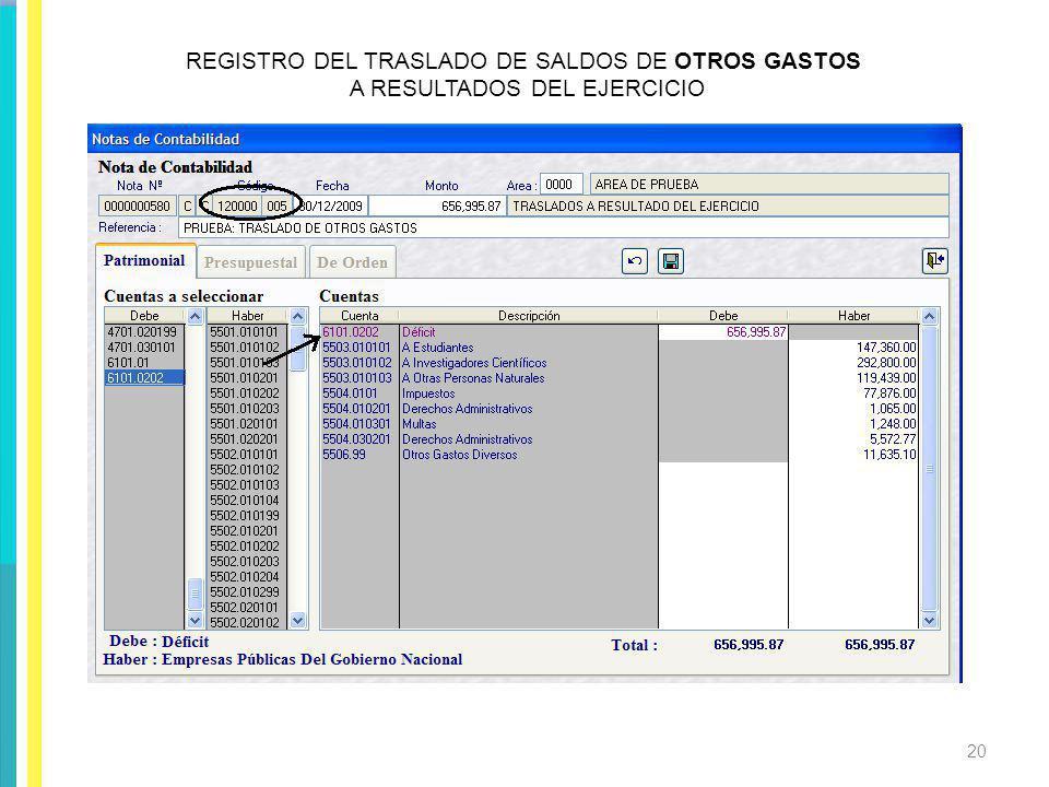 REGISTRO DEL TRASLADO DE SALDOS DE OTROS GASTOS