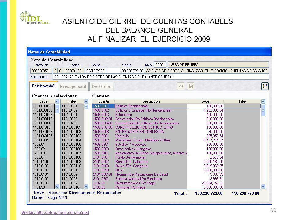 ASIENTO DE CIERRE DE CUENTAS CONTABLES DEL BALANCE GENERAL