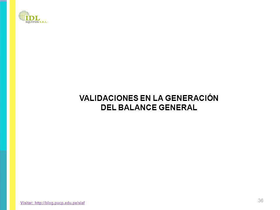VALIDACIONES EN LA GENERACIÓN