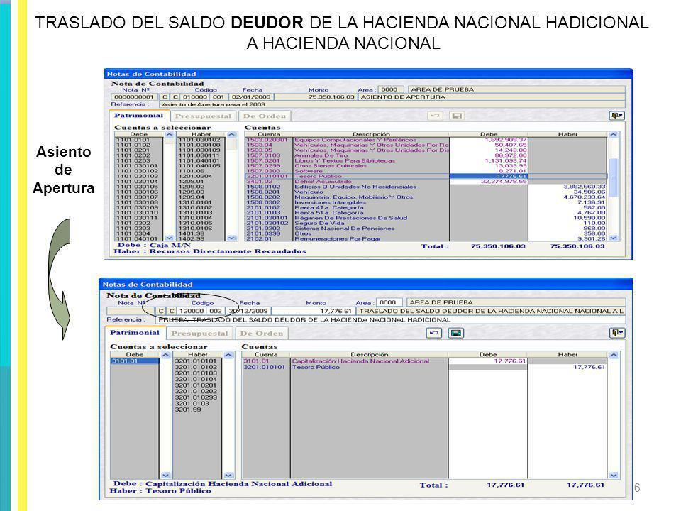 TRASLADO DEL SALDO DEUDOR DE LA HACIENDA NACIONAL HADICIONAL