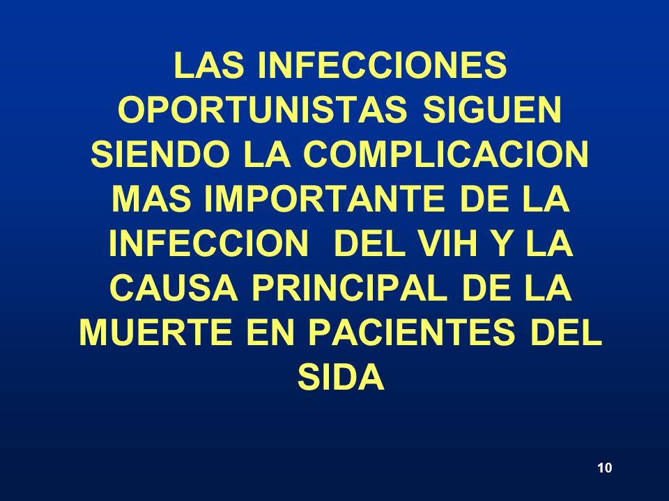 LAS INFECCIONES OPORTUNISTAS SIGUEN SIENDO LA COMPLICACION MAS IMPORTANTE DE LA INFECCION DEL VIH Y LA CAUSA PRINCIPAL DE LA MUERTE EN PACIENTES DEL SIDA