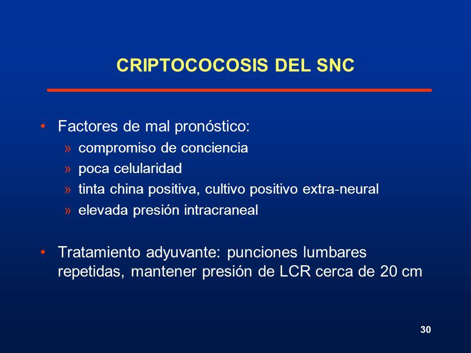 CRIPTOCOCOSIS DEL SNC Factores de mal pronóstico: