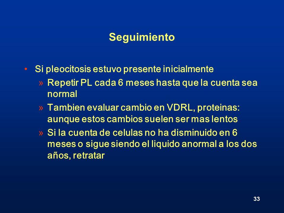 Seguimiento Si pleocitosis estuvo presente inicialmente