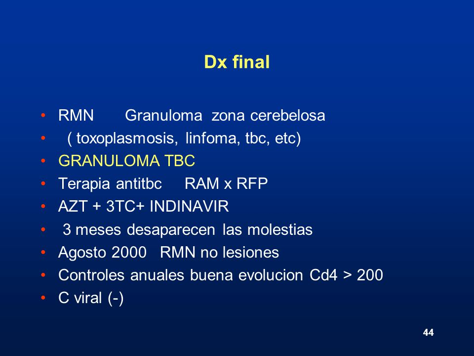 Dx final RMN Granuloma zona cerebelosa