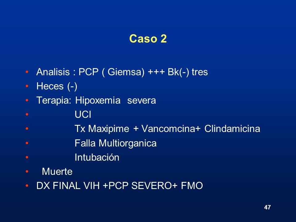 Caso 2 Analisis : PCP ( Giemsa) +++ Bk(-) tres Heces (-)