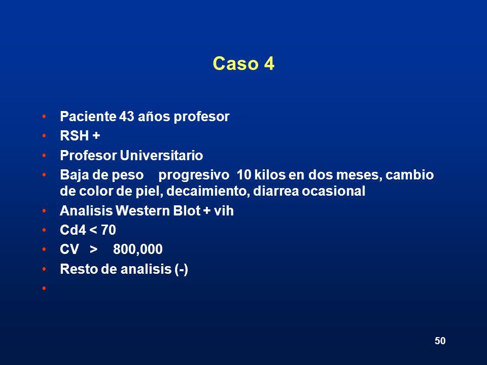 Caso 4 Paciente 43 años profesor RSH + Profesor Universitario