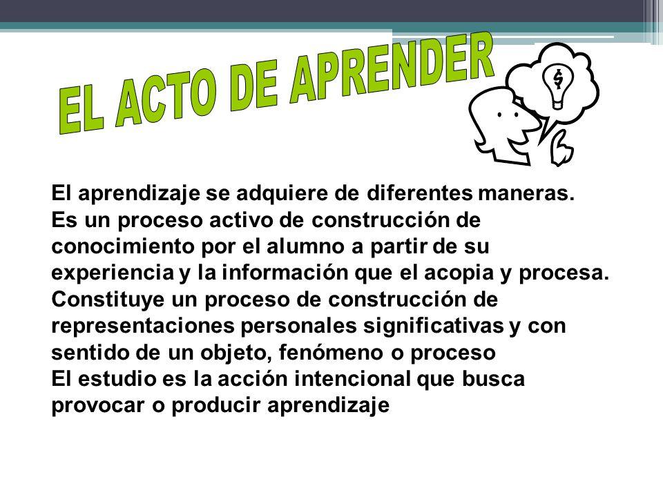 EL ACTO DE APRENDER El aprendizaje se adquiere de diferentes maneras.