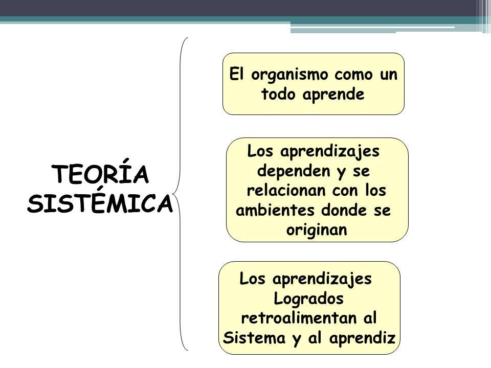 TEORÍA SISTÉMICA El organismo como un todo aprende Los aprendizajes