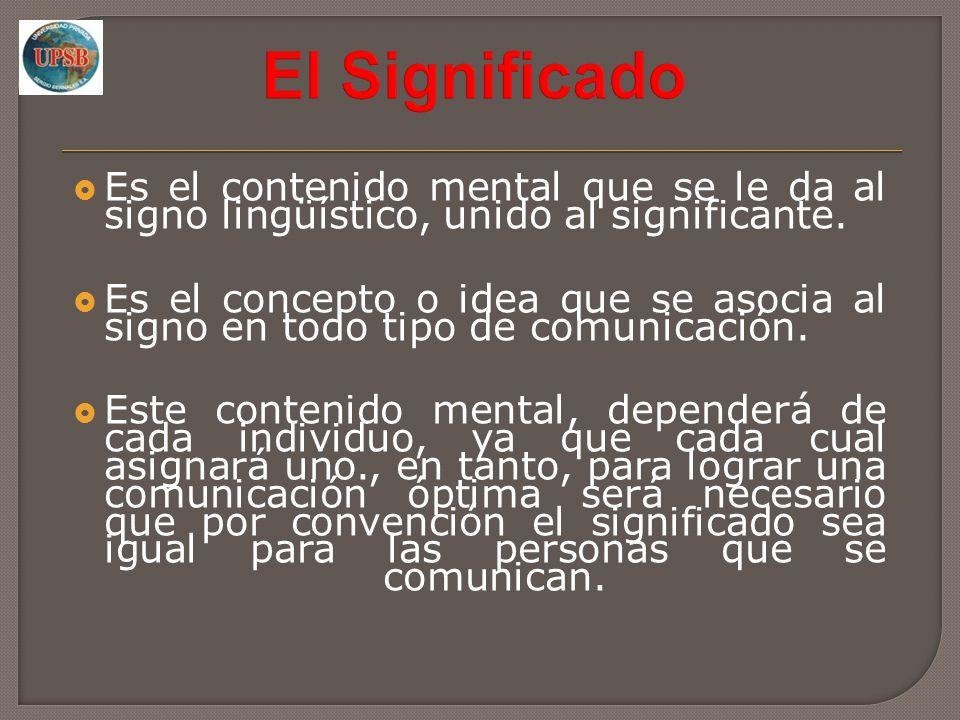 El Significado Es el contenido mental que se le da al signo lingüístico, unido al significante.