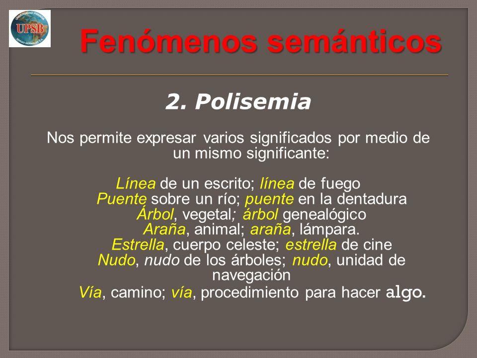 Fenómenos semánticos 2. Polisemia