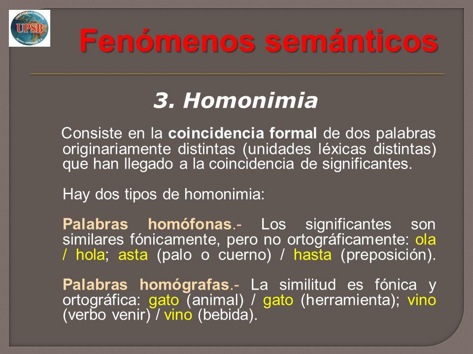 Fenómenos semánticos 3. Homonimia