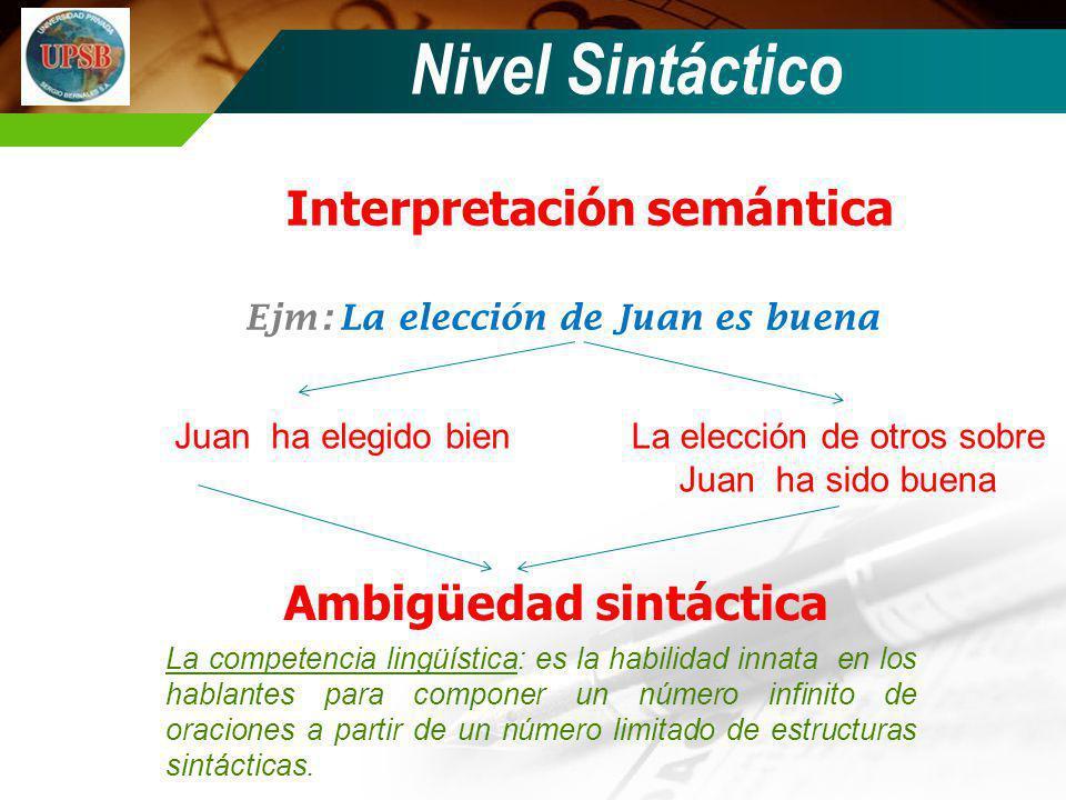 Interpretación semántica Ejm: La elección de Juan es buena