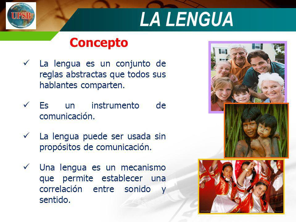 LA LENGUA Concepto. La lengua es un conjunto de reglas abstractas que todos sus hablantes comparten.