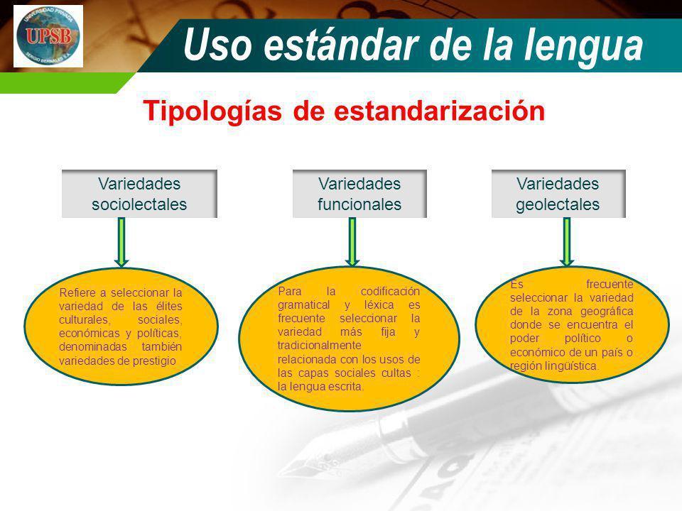 Tipologías de estandarización