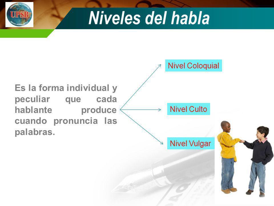 Niveles del habla Nivel Coloquial. Es la forma individual y peculiar que cada hablante produce cuando pronuncia las palabras.
