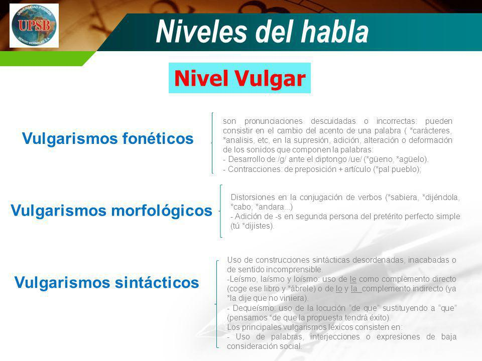 Niveles del habla Nivel Vulgar Vulgarismos fonéticos