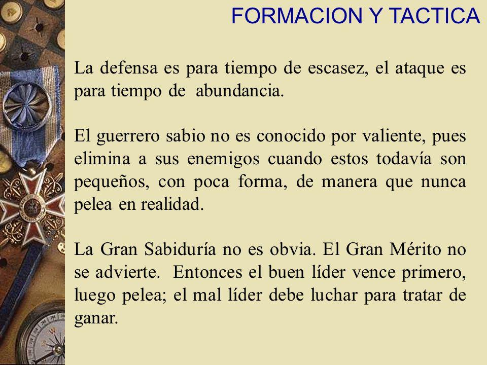 FORMACION Y TACTICA La defensa es para tiempo de escasez, el ataque es para tiempo de abundancia.